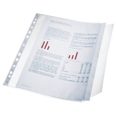 Pochettes perfor�es rabat lat�ral transparent Esselte - A4 - capacit� 40 feuilles - perforation 11 trous - Sachet de 10