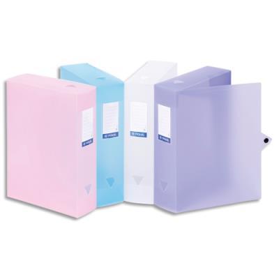 Boîte archive en polypropylène SILKY TOUCH - dos 8 cm - fermeture par cliquetage - coloris assortis (photo)