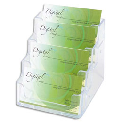 Porte cartes visite Deflecto - 1x4 compartiment - transparent