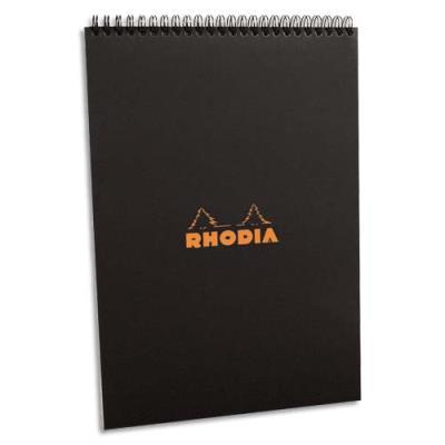 Bloc de direction Rhodia couverture reliure intégrale en-tête noire - 80 feuilles - format A4  - réglure 5x5 petits carreaux (photo)