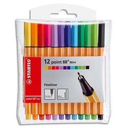 Pochette 12 mini feutres de coloriage Stabilo Point 88