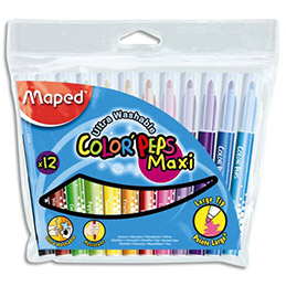 Pochette de 12 feutres de coloriage Maped Color Peps - pointe extra large - coloris assortis (photo)