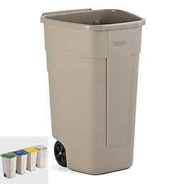 Conteneur carré à roues Rubbermaid - corps beige - 100L (photo)