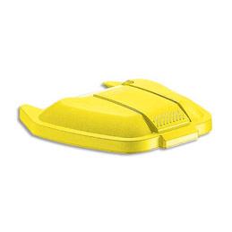 Couvercle jaune pour conteneur carré à roues Rubbermaid 100 L (photo)