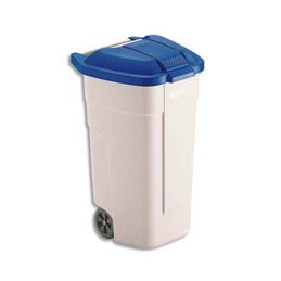 Couvercle bleu pour conteneur carré à roues Rubbermaid - 100 L (photo)