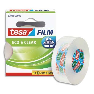 Ruban adhésif grande transparence Tesa Clear - 33 m x19 mm - sans solvant - en boîte individuelle