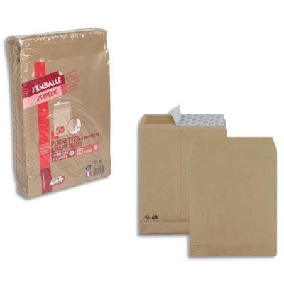 Pochettes 229x324 GPV - kraft brun - soufflet 30 mm - 120 g - fermeture auto-adhésive - paquet de 50 (photo)