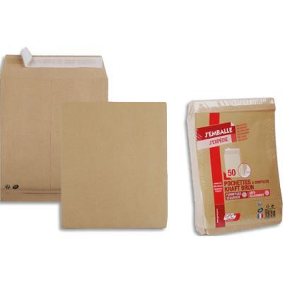 Pochettes kraft brun GPV - 120 g - fermeture auto-adhésive - soufflet 30 mm - format 24 260 x 330 mm - paquet de 50 (photo)