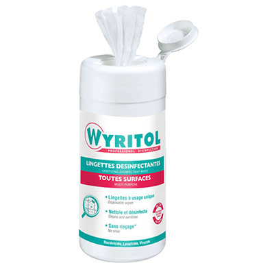 Lingettes désinfectantes multi-usages 2 en 1 Wyritol - boîte de 120 (photo)
