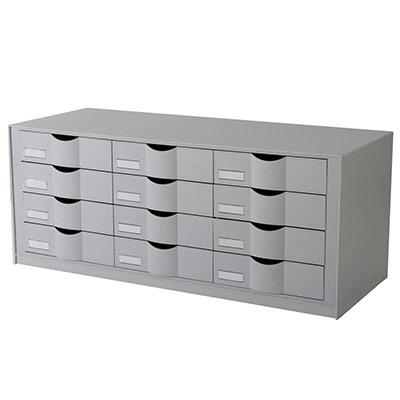 Bloc classeur 12 tiroirs gris (photo)