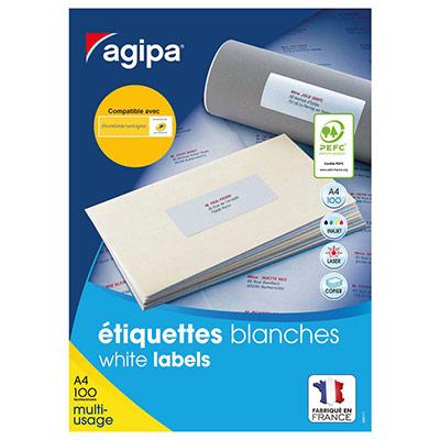 Étiquettes adhésives blanches multi-usages, 63,5  x 33,9 mm -  2400 étiquettes par boîte, 24 étiquettes par feuille (boîte 2400 unités) (photo)