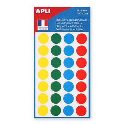Pastilles adhésives de couleur, Ø 15 mm - Pochette de 140, coloris assortis (blister 140 unités)