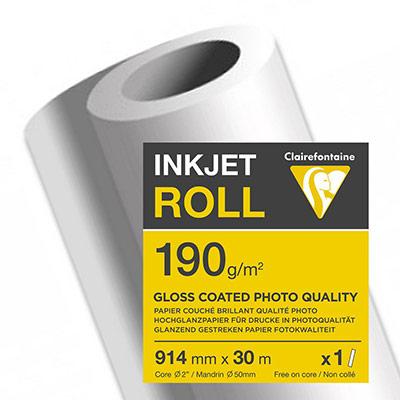 Rouleau papier jet d'encre Clairefontaine - 190 g - 0.914x30m