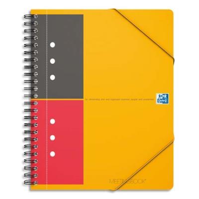 Cahier chemise Oxford Meetingbook - reliure spirales - A5+ - 160 pages - ligné 6 mm - feuilles perforées détachables - 3 rabats + élastique