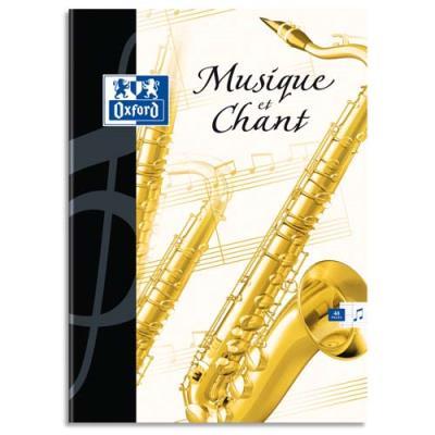 Cahier de musique & chant Oxford - format 24x32 cm - 48 pages : 24 p portées+ 24 p séyès