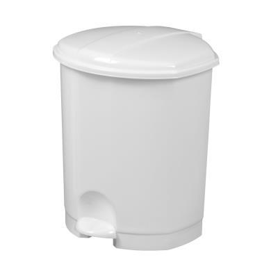 Poubelle pédale plastique - blanc - 7 litres