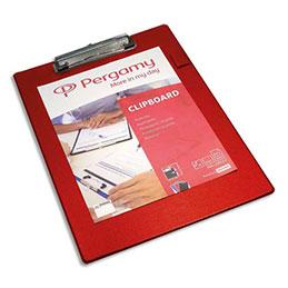 Plaque porte-bloc Pergamy - PVC - 23,5 x 34 cm - avec pince en métal - rouge