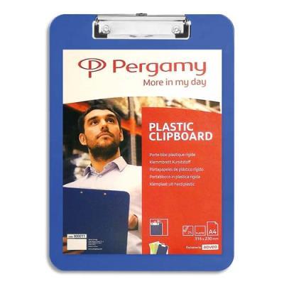 Plaque porte-bloc Pergamy - plastique- 23 x 31,6 cm - pour documents A4+ - bleu