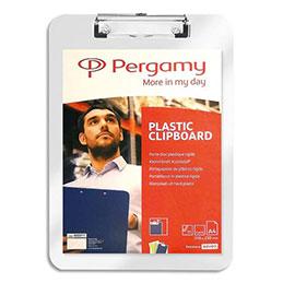 Plaque porte-bloc Pergamy - plastique - 23 x 31,6 cm - pour documents A4+ - transparent