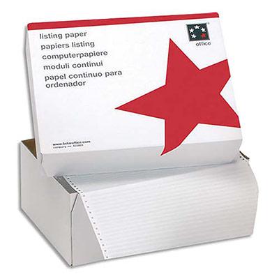 Boîte de 2500 listing 5 Etoiles - format 380 mm x 11'' - simple - blanc - 60 g - bandes Caroll fixes (photo)