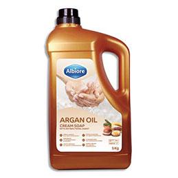 Crème moussante Albiore - pour les mains - avec agent antibactérien - à l'huile d'argan - bidon de 5 kg (photo)