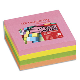 Bloc cube de 320 feuilles repositionnables Pergamy - 7,6x7,6 cm - coloris assortis pastel (photo)