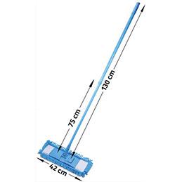 Balai bleu Albiore - manche télescopique 75 à 130 cm - support rectangulaire 42 x 12 cm - frange microfibre (photo)