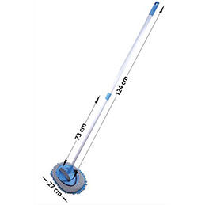 Balai bleu Albiore - manche télescopique 75 à 124 cm - support ovale 25,5 x 16,5 cm - frange microfibre (photo)