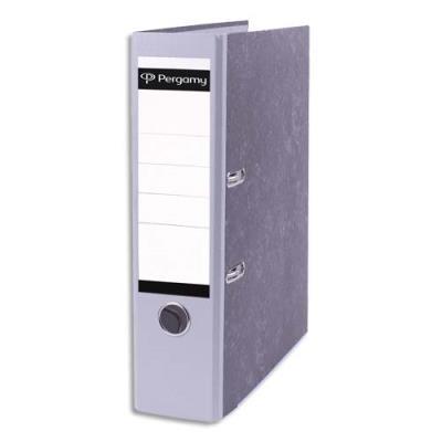 Classeur à levier Pergamy - en carton gris intérieur/extérieur marbré - dos 8 cm - A4 - dos gris