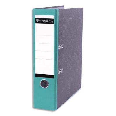 Classeur à levier Pergamy - en carton gris intérieur/extérieur marbré - dos 8 cm - A4 - dos vert