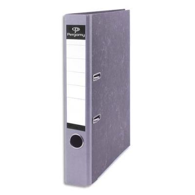 Classeur à levier Pergamy - en carton gris intérieur/extérieur marbré - dos 5 cm - A4 - dos gris