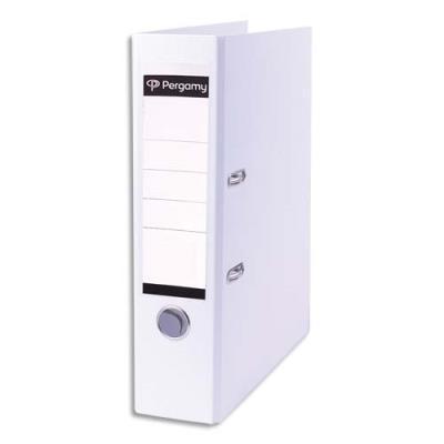 Classeur à levier Pergamy - en polypropylène extérieur/intérieur papier - dos 8 cm - blanc