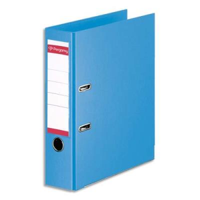 Classeur à levier Pergamy - polypropylène intérieur/extérieur - dos 8 cm - A4 - bleu ciel