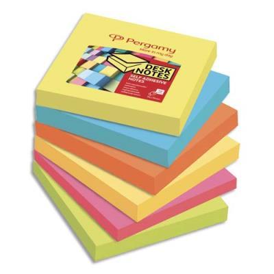 Blocs Pergamy - 7,6 x 7,6 cm - 100 feuilles repositionnables accordéon - coloris assortis - lot de 6