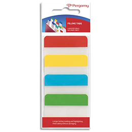 Blister de 4 x 24 index marque-pages Pergamy - larges 3,8 x 5,1 cm - rigides - coloris assortis classiques (photo)