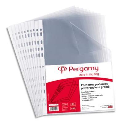 Pochettes perforées - polypropylène 9/100e lisse - A4 - perforation 11 trous - sachet de 50