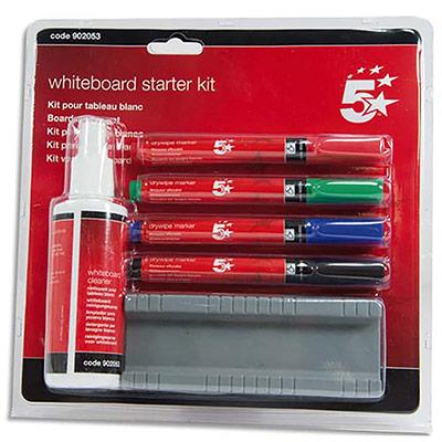 Kit de nettoyage 5 Etoiles pour tableaux blancs - avec marqueurs, effaceur et spray - 125 ml (photo)