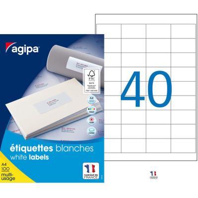 Étiquettes adhésives blanches multi-usages, 48,5  x 25,4 mm -  4000 étiquettes par boîte, 40 étiquettes par feuille (boîte 4000 unités) (photo)
