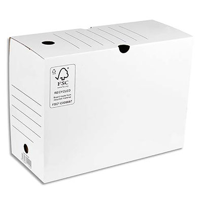 Boîte à archives 1er prix - dos de 20 cm - en carton ondulé - kraft blanc