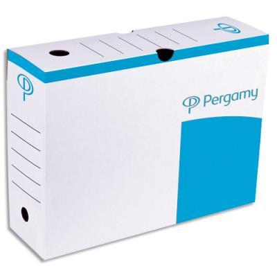 Boîte à archives 1er prix - dos de 10 cm - en carton ondulé - kraft blanc imprimé bleu (photo)