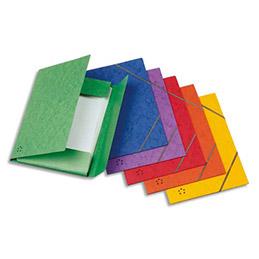 Chemise 3 rabats et élastiques 1er prix - carte lustrée 5/10e - coloris assortis - lot de 10