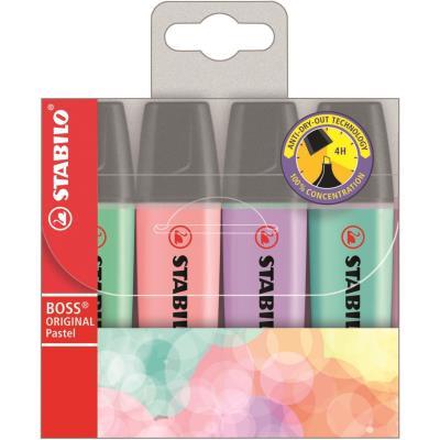 Surligneur à corps plat, BOSS® Original, couleurs pastel assorties, pointe biseautée, 2-5 mm (blister 4 unités)