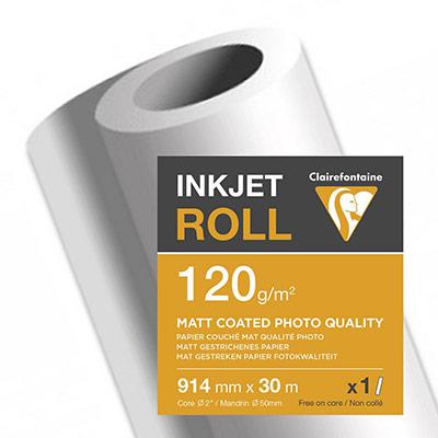 Rouleau papier jet d'encre Clairefontaine - 120 g - 0.914x30m