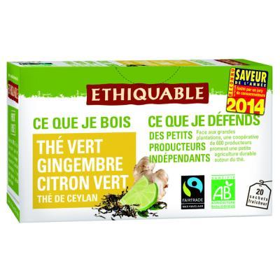 Sachets de thé vert de Ceylan gingembre citron vert (paquet 20 unités)
