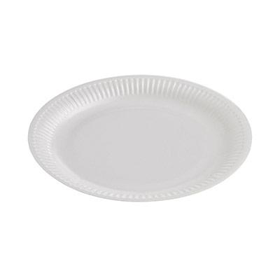 Assiette jetable en carton enduit - 23 cm - blanc - paquet 50 unités (photo)