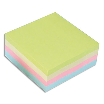 Bloc cube notes repositionnables 5 Etoiles - coloris assortis pastels - 76 x 76 mm - bloc de 320 feuilles (photo)