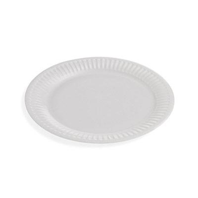 Assiette jetable en carton enduit - 18 cm - blanc - paquet 50 unités (photo)