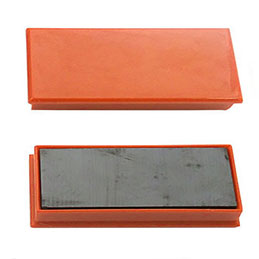 Aimants rectangulaires sans téton 1er prix - 2,3 x 5,5 cm - coloris orange - plaquette de 2 (photo)