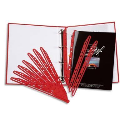 paquet de 100 bandes perfor es porte revue en plastique rouge achat pas cher. Black Bedroom Furniture Sets. Home Design Ideas