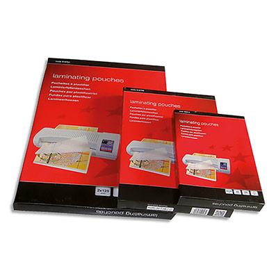 Boîte de 100 pochettes à plastifier 5 Etoiles - format A4 - dos adhésif 80 microns par face (photo)